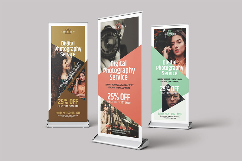 Display of Roll up Banners