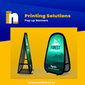 Pop up display banners with ideal shapes from horizontal, square